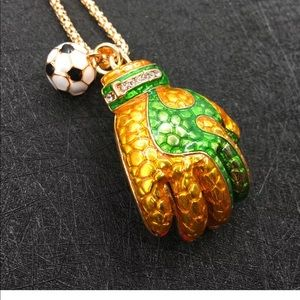 Jewelry - Crystal Yellow Soccer Glove and ball Necklace